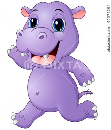Vector illustration of Cartoon hippo running 42375294