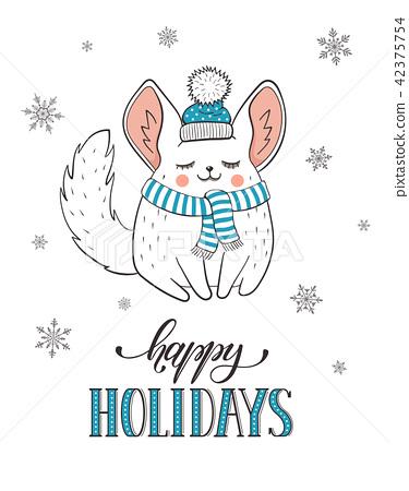 Cute holidays greeting card 42375754