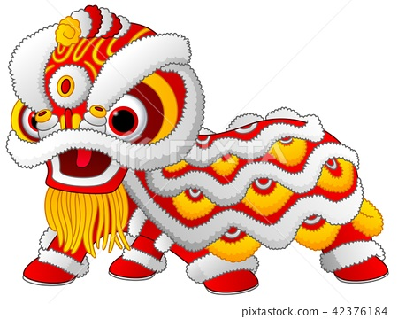 Chinese lion dance isolated on white background 42376184