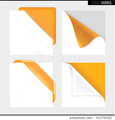 Yellow color corner banner, vector illustration 42376482