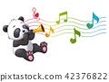 Cartoon Panda playing a trumpet 42376822