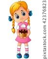 Cartoon little girl holding a birthday cake 42376823
