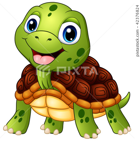 Cute turtle cartoon smiling 42376824
