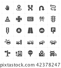 Icon set - traffic and accident filled icon style  42378247
