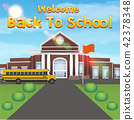 welcome back to school with front school building 42378348