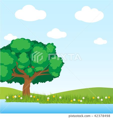 Tree and lake Illustration vector 42378498