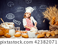 girl, dough, flour 42382071