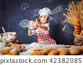 girl, dough, flour 42382085