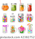 Glass jar vector jam or sweet jelly in mason glassware with lid or cover for canning and preserving 42382752