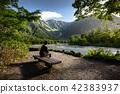 Man sitting on bench alone in Kamikochi 42383937