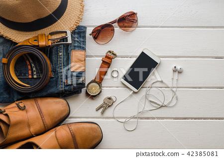 Clothing for Men on the white wooden floor 42385081