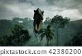 T Rex Tyrannosaur Dinosaur animation in jungle. realistic render. 3D Rendering. 42386200