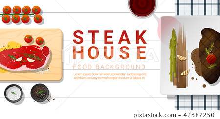 Raw fresh meat and grilled meat strip loin steak 42387250