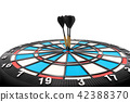 dart arraw and dartboard target on white 42388370