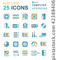 Set Vector Flat Line Icons Upgrading Computer 42388406