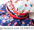 Floral pattern dress with red belt 42388533