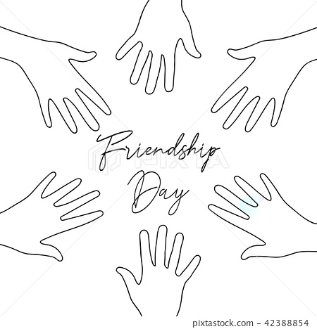 Friendship Day friend group hands together card 42388854