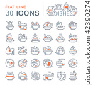 dishes, icon, set 42390274