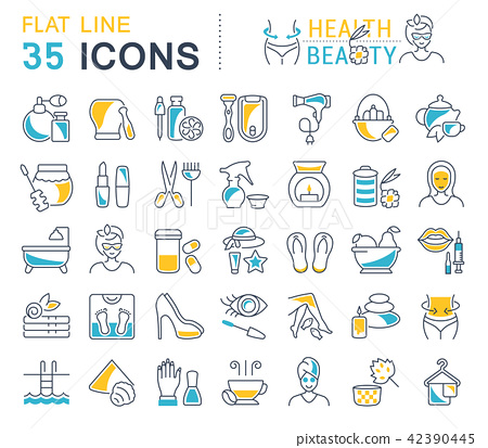 Set Vector Line Icons of Health and Beauty 42390445
