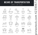Set Vector Line Icons of Means of Transportation. 42390671