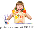 Portrait of a cute girl playing with paints 42391212
