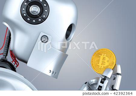 Robot looking at bitcoin coin in his hands 42392364