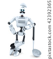 Robot Chef posing with soup ladle. 3D illustration 42392365