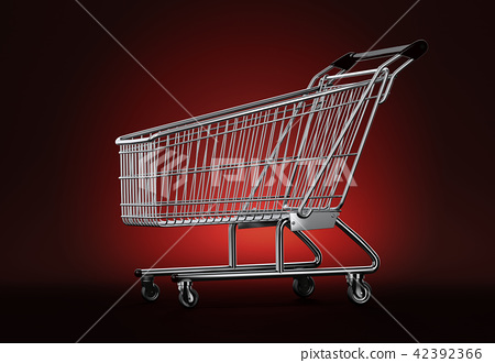 Empty shopping cart on red background 42392366