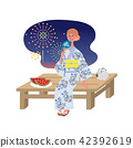 Woman watching fireworks Yukata woman summer image illustration 42392619