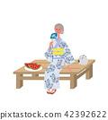 晚上凉快的Yukata资深妇女例证 42392622