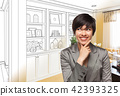 Young Woman Over Custom Built-in Shelves and Cabinets Design Dra 42393325