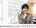 Young Woman Over Custom Built-in Shelves and Cabinets Design Dra 42393327