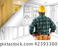 Contractor Facing Built-in Shelves and Cabinets Drawing with Pag 42393360