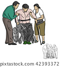 two people helping handicapped man  42393372