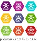 Tambourine icons set 9 vector 42397337