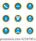Lovely day icons set, flat style 42397851