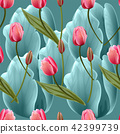 Seamless pattern with tulips flowers 42399739