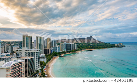 Hawaii Honolulu Waikiki Beach Diamond Head Stock Photo