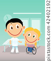 Happy physiotherapist and child in wheelchair 42402192