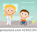 Happy physiotherapist and child in wheelchair 42402193