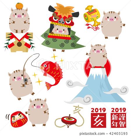 野豬 豬 新年賀卡材料 42403193