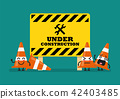 Under construction sign and traffic cone character 42403485