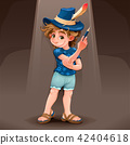 Magician child with blue hat 42404618