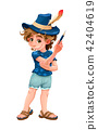 Magician child with blue hat 42404619