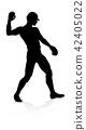 baseball, silhouette, player 42405022