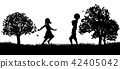 kids, silhouette, playing 42405042