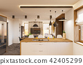 3d render modern living room and kitchen interior design with fireplace. 42405299