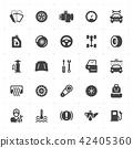 Icon set - garage and auto filled icon style  42405360