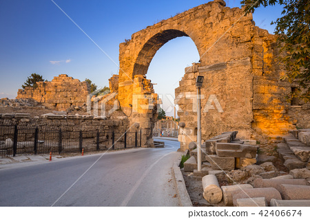 Vespasian gate to the ancient city of Side, Turkey 42406674