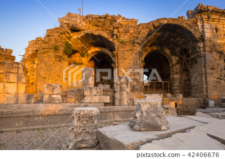 Ruins of the ancient theatre in Side, Turkey 42406676